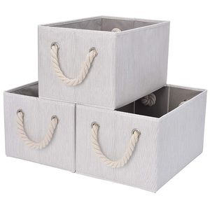 3 Pack Large Storage Bins Cotton Rope Handles